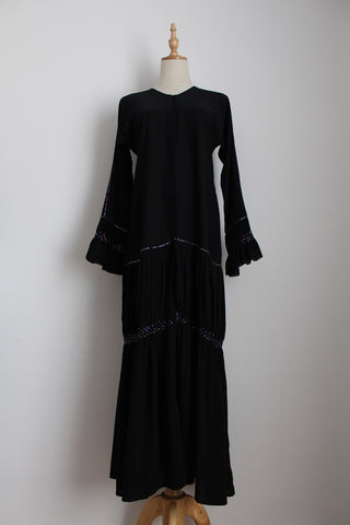 VINTAGE DIAMANTE BLACK RUCHED DRESS - SIZE 10