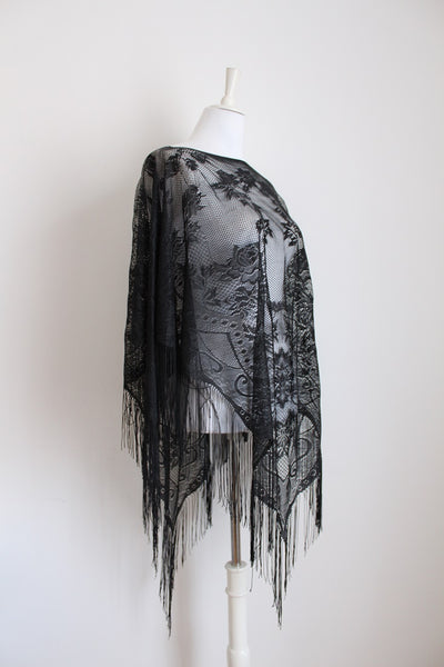 BLACK SHEER LACE FRINGED SHAWL - ONE SIZE