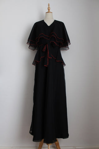VINTAGE BLACK CAPE SLEEVES MAXI DRESS - SIZE 8