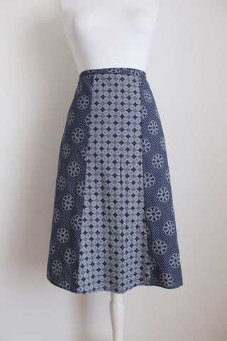SHWESHWE PRINTED BLUE WRAP SKIRT - SIZE 10