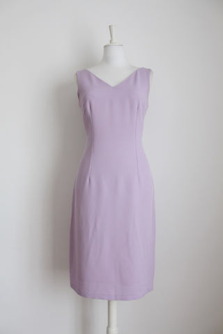 VINTAGE FITTED LILAC SHIFT DRESS - SIZE 10