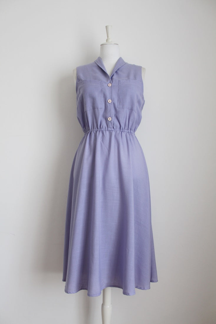 VINTAGE PURPLE LILAC SLEEVELESS DAY DRESS - SIZE 12