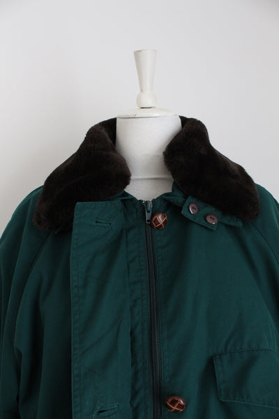 VINTAGE FAUX FUR COLLAR GREEN COAT - SIZE 16