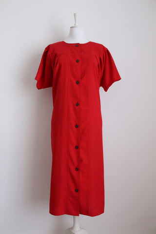 VINTAGE RED BUTTON DOWN SHIFT DRESS - SIZE 16