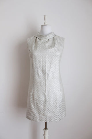VINTAGE SILVER ROUND COLLAR MINI COCKTAIL DRESS - SIZE 8
