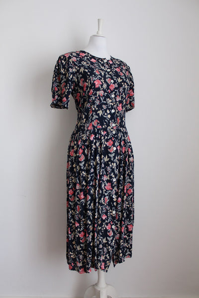 VINTAGE FLORAL NAVY PINK BUTTON DOWN DRESS - SIZE L