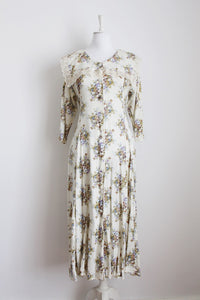 VINTAGE CREAM FLORAL LACE OVERSIZE COLLAR DRESS - SIZE 12