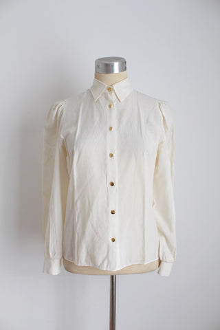 VINTAGE CREAM PUFFED SLEEVES GOLD BUTTONS SHIRT - SIZE 8