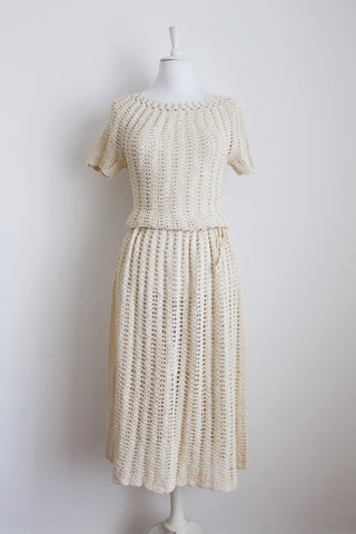 VINTAGE CROCHET KNIT CREAM JERSEY DRESS - SIZE 12