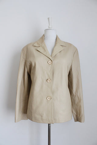 VINTAGE GENUINE LEATHER CREAM BLAZER - SIZE 16
