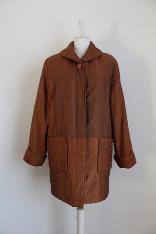 VINTAGE COPPER QUILTED COAT - SIZE 16