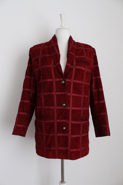 GENUINE SUEDE LEATHER VINTAGE RED JACKET - SIZE 8
