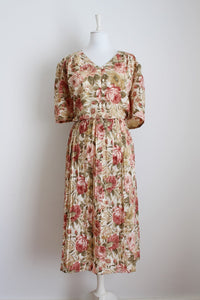 VINTAGE ROSE FLORAL PRINT PLEATED DRESS - SIZE 22