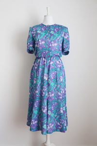 VINTAGE TROPICAL FLOWER PRINT PURPLE DRESS - SIZE 12
