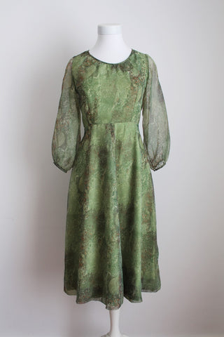 VINTAGE GREEN PRINTED SHEER SLEEVES COCKTAIL DRESS - SIZE 8