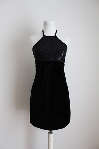 VINTAGE SEQUIN VELOUR HALTER NECK LITTLE BLACK DRESS - SIZE 8