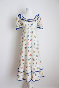 VINTAGE RUFFLE FLORAL PRINT CREAM BLUE DRESS - SIZE 6