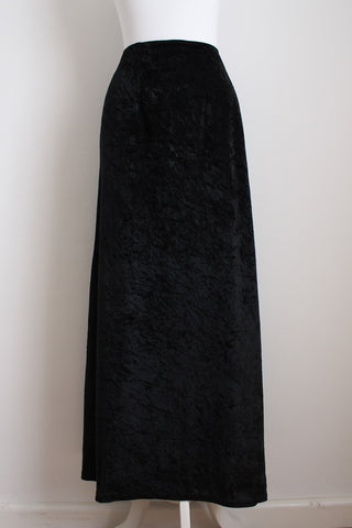 VINTAGE CRUSHED VELVET BLACK MAXI SKIRT - SIZE 8