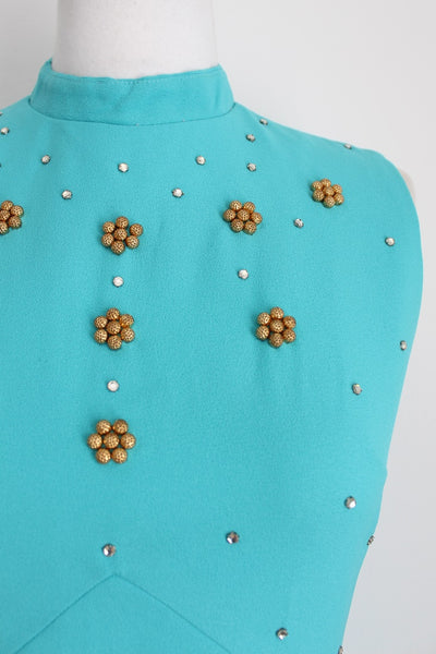 VINTAGE TURQUOISE BEADED HIGH COLLAR EVENING DRESS - SIZE 10