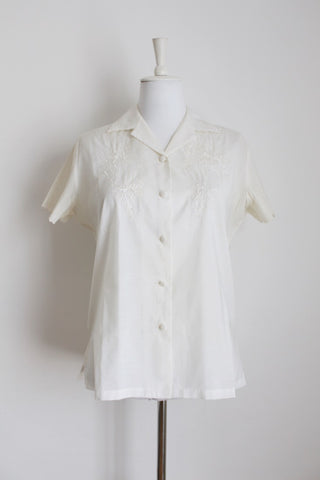 VINTAGE EMBROIDERY OFF-WHITE SHIRT - SIZE 12