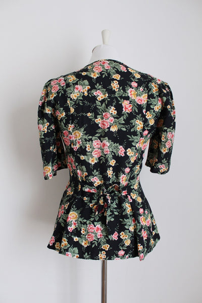VINTAGE FLORAL TIE BACK HIGH-LOW BLOUSE - SIZE 10