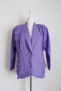 VINTAGE PURPLE RUCHED JACKET - SIZE 8/10