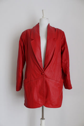 GENUINE LEATHER VINTAGE RED JACKET - SIZE 12