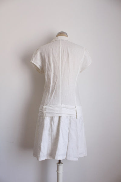 LINEN WHITE TIE SHORT SLEEVE SHIRT DRESS - SIZE 10