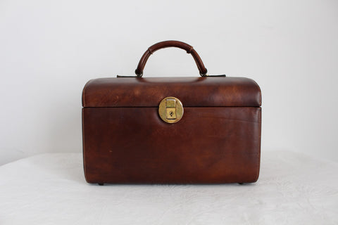 GENUINE LEATHER VINTAGE COSMETIC VANITY CASE