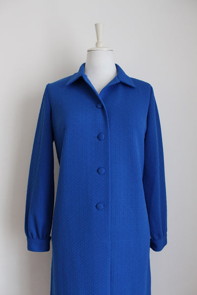 VINTAGE ROYAL BLUE CRIMPLENE LONG SLEEVE DRESS - SIZE 12