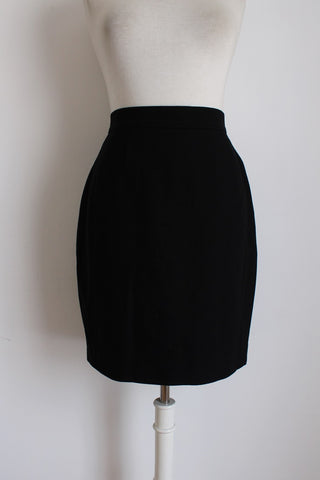 VINTAGE FITTED WOOL BLACK PENCIL SKIRT - SIZE 10