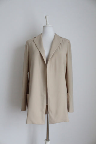 BURBERRY LONDON DESIGNER BEIGE JACKET - SIZE 12