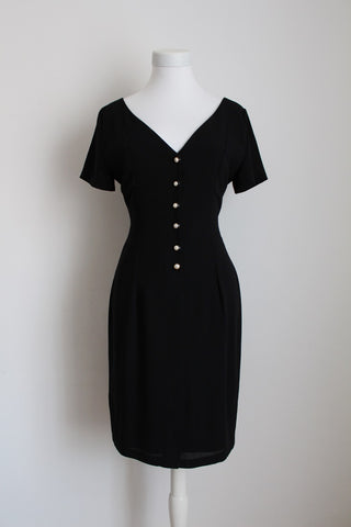 VINTAGE FITTED BLACK BUTTON DOWN COCKTAIL DRESS - SIZE 8
