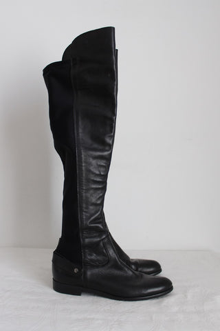 EUROPA ART GENUINE LEATHER OVER THE KNEE BOOTS - SIZE 4