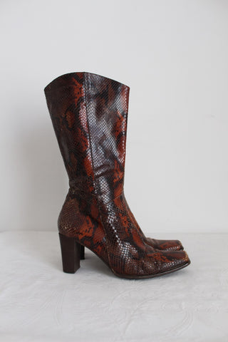 CANTELLI BOLOGNA GENUINE LEATHER SNAKE PRINT BOOTS - SIZE 6