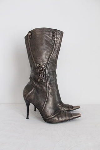 RIVER ISLAND GENUINE LEATHER METALLIC BOOTS - SIZE 7