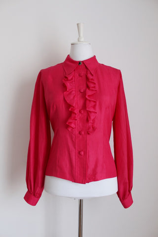VINTAGE HOT PINK RUFFLE FITTED BLOUSE - SIZE 14
