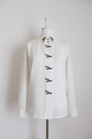 VINTAGE WHITE EMBROIDERED LONG SLEEVE BLOUSE - SIZE 16
