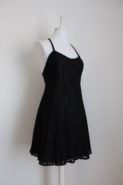 VINTAGE BLACK LACE CRISS-CROSS BACK COCKTAIL DRESS - SIZE 10/12
