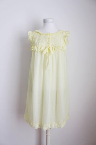 VINTAGE PASTEL YELLOW RUFFLE NIGHTIE - SIZE L