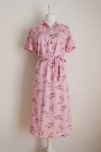 VINTAGE PINK FLORAL TIE WAIST DAY DRESS - SIZE 16
