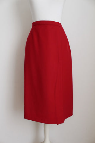 VINTAGE WOOL RED PENCIL SKIRT - SIZE 6