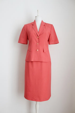 VINTAGE CORAL TWO PIECE SKIRT JACKET SUIT - SIZE 8