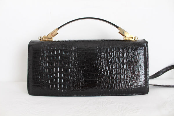 VINTAGE CROCODILE EMBOSSED GENUINE LEATHER BAG