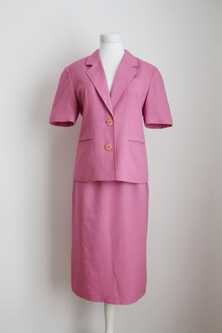 VINTAGE PINK TWO PIECE SKIRT JACKET SUIT - SIZE 8