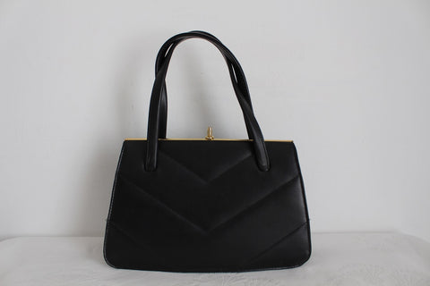 VINTAGE FAUX LEATHER BLACK KELLY  BAG