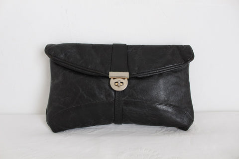 GENUINE LEATHER VINTAGE BLACK CLUTCH PURSE