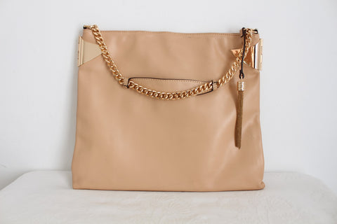 LISA KING COLLECTION DESIGNER NUDE LEATHER BAG