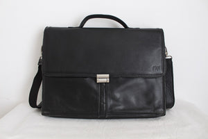 GENUINE LEATHER BLACK BRIEFCASE SATCHEL BAG