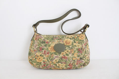 VINTAGE TAPESTRY GENUINE LEATHER SHOULDER BAG